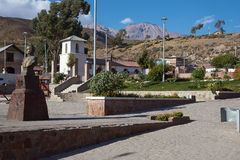 Putre. Historic Plaza de Armas in the small town of Putre in northern Chile. Putre is the gateway to Lauca National Park on the high altitude Altiplano Royalty Free Stock Photos
