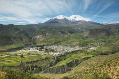 Putre village with Nevado de Putre at background. Chile Stock Photo