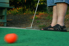 Putt. A golf ball in motion after it's been hit Royalty Free Stock Photo