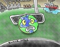 Φτωχή γη Putt ρύπανσης στην απεικόνιση μαύρων τρυπών Στοκ φωτογραφίες με δικαίωμα ελεύθερης χρήσης
