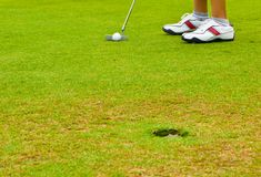 Putt golf on green course Royalty Free Stock Images