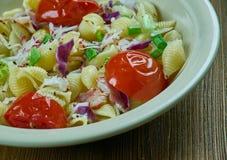 Puttanesca pasta salad. Simple and delicious pasta salad stock image