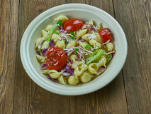 Puttanesca pasta salad. Simple and delicious pasta salad stock images