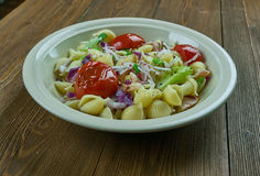 Puttanesca pasta salad. Simple and delicious pasta salad stock photography