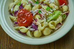 Puttanesca pasta salad. Simple and delicious pasta salad royalty free stock photo