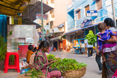 PUTTAPARTHI,安得拉邦-印度- 2016年11月09日:妇女在地方市场上卖草本 免版税库存图片