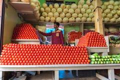 PUTTAPARTHI,安得拉邦-印度- 2016年11月09日:菜在印度的地方市场上 库存图片