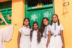 PUTTAPARTHI, ANDHRA PRADESH, INDIA - JULY 9, 2017: Group of indian schoolgirls. Copy space for text. stock photography