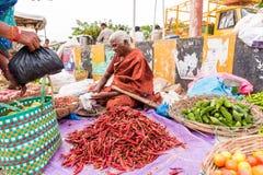 PUTTAPARTHI, ANDHRA PRADESH - INDIEN - 22. JULI 2017: Frau verkauft Gemüse am lokalen Markt Nahaufnahme Stockfotos