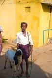 PUTTAPARTHI, ANDHRA PRADESH - INDIEN - 9. NOVEMBER 2016: Schäfer mit einer Ziege auf der Straße vertikal Lizenzfreie Stockfotos
