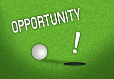 Putted Golf Ball On Edge of Hole. A Golf Putt Very Close to The Hole with A Word Opportunity Stock Photos