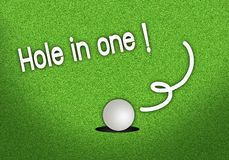 Putted Golfball Dropping Hole in One Shot. Beautiful Golf Green with A Golf Ball in The Cup on Hole in One Shot Stock Photography
