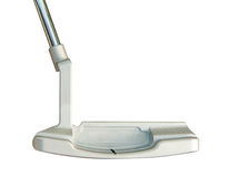 Putter de club de golf sur le fond blanc Images libres de droits