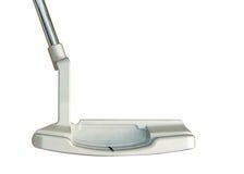 Putter del club de golf en el fondo blanco Imágenes de archivo libres de regalías