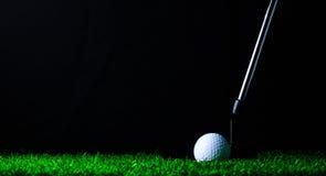 Putter en golfbal op groen gras Royalty-vrije Stock Afbeeldingen