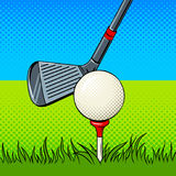 Putter and golf ball door pop art vector. Putter and golf ball pop art style vector illustration. Comic book style imitation Royalty Free Stock Photography