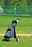 Putter im Golfbeutel Stockfotos