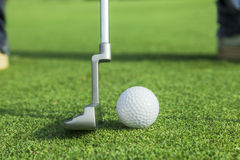 Putter puts a golf ball to hole. On green of golf course Stock Photo
