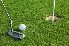 Putter puts a golf ball to hole. On green of golf course Stock Image
