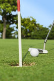 Putter puts a golf ball to hole. On green of golf course Stock Photos