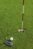 Putter puts a golf ball to hole. On green of golf course Stock Photography