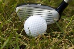 Putter und Golfball stockfotos