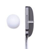 Putter und Golfball auf Weiß Stockfotografie