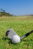 Putters and ball on green field. Royalty Free Stock Image