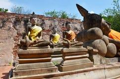 Putthaisawan寺庙阿尤特拉利夫雷斯,泰国的斜倚的菩萨 免版税图库摄影