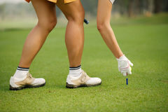 Putting ball on the tee Stock Photography