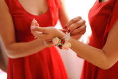 Putting on Boutonniere Stock Photography