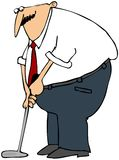 Putting Businessman. This illustration depicts a businessman practicing with his golf putter Royalty Free Stock Photos