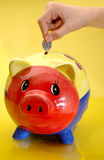 Putting coin in piggy bank Royalty Free Stock Image