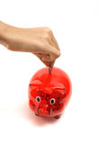 Putting coin in piggy bank stock photo
