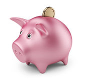 Putting coin into  piggy bank. 3D Icon  Royalty Free Stock Photo