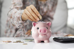 Putting coin in piggy bank Stock Photos