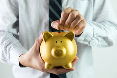 Putting coin into piggy bank Royalty Free Stock Images