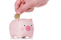 Putting coin into the piggy bank Royalty Free Stock Image