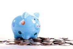 Putting coin to Piggy bank Royalty Free Stock Photos
