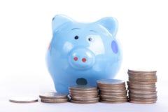 Putting coin to Piggy bank Stock Photos