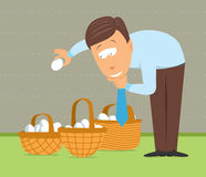 Putting eggs in different baskets Royalty Free Stock Images