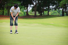 Putting on golf course Royalty Free Stock Image