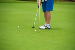 Putting Green. Golfer taking the shot with perfect form Royalty Free Stock Image