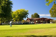 Putting Green and Carts Royalty Free Stock Image
