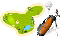 Putting Green, Golf Bag and ball. Isolated on the white Royalty Free Stock Photos