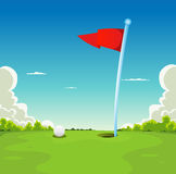 Putting Green - Golf Ball And Flag. Illustration of a golf sport landscape, with golf ball and flag on putting green grass Stock Image