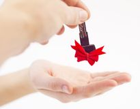Putting the key in hand Royalty Free Stock Photos