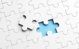 Putting the last piece of jigsaw puzzle to complete work. In business concept. 3d illustration Royalty Free Stock Images