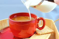 Putting milk into the coffee Royalty Free Stock Photo
