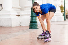 Putting on my inline skates Royalty Free Stock Photography